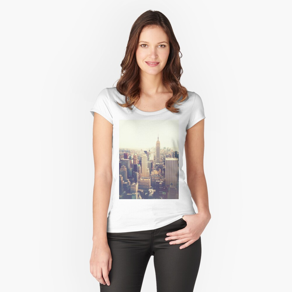 Nueva York Camiseta entallada de cuello redondo