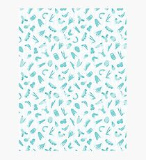 Light Blue and White Abstract Cut Out Shapes Photographic Print