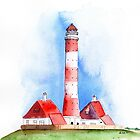 Westerheversand Lighthouse Watercolor Painting by Sandra Connelly