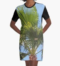 Colours of Crete 1 - Palm Tree with clear blue sky Graphic T-Shirt Dress