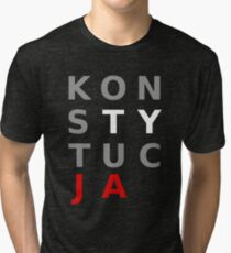 Polska Konstytucja Polish Pride PL Solidarity Solidarnosc Independant Poland National Anthem Tri-blend T-Shirt