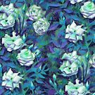 White Roses, Blue Leaves Retro Floral Pattern by clipsocallipso