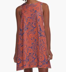 Paisley Game Day Dress | Florida | Blue and Orange A-Line Dress