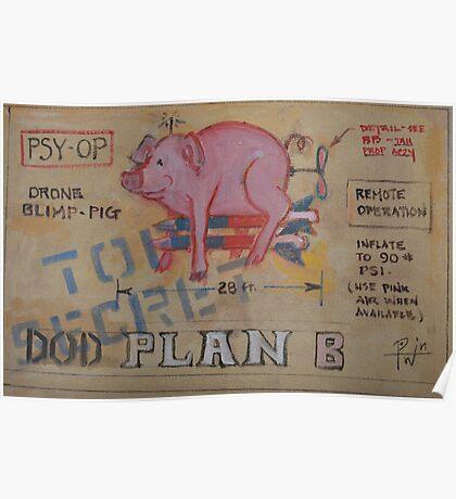 DOD Plan B Drone Blimp Pig Poster