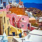 colorful houses on Santorini by HalinaJ