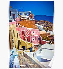 bunte Häuser auf Santorini Poster