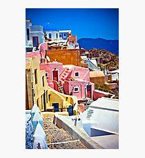colorful houses on Santorini Photographic Print