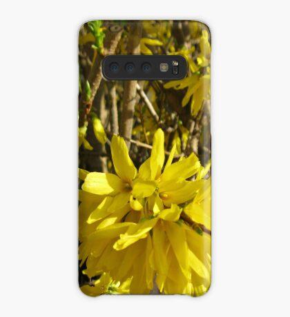 Goldene Forsythie-Blume Hülle & Klebefolie für Samsung Galaxy