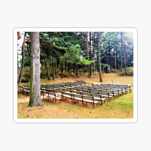 Row of Wooden Benches Sticker