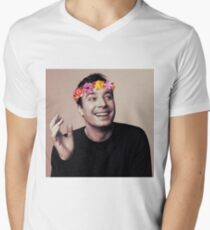 Jimmy Fallon- flower crown Men's V-Neck T-Shirt