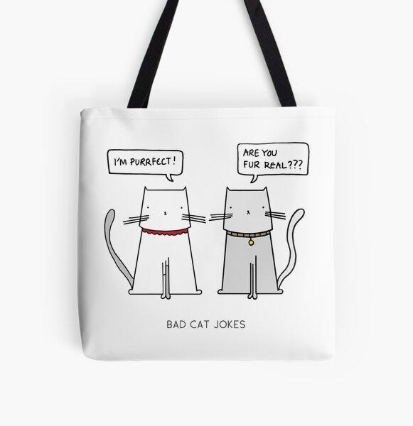 BAD CAT JOKES All Over Print Tote Bag