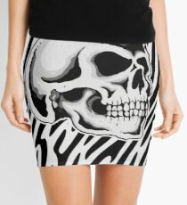 Smiling Skull - Greyscale Art Mini Skirt