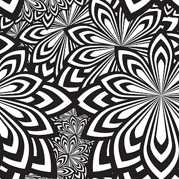 Floral Black and White Monochromatic Pattern by 4Craig