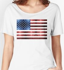 USA flag red blue sparkles glitters Women's Relaxed Fit T-Shirt