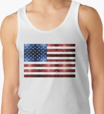 USA flag red blue sparkles glitters Tank Top