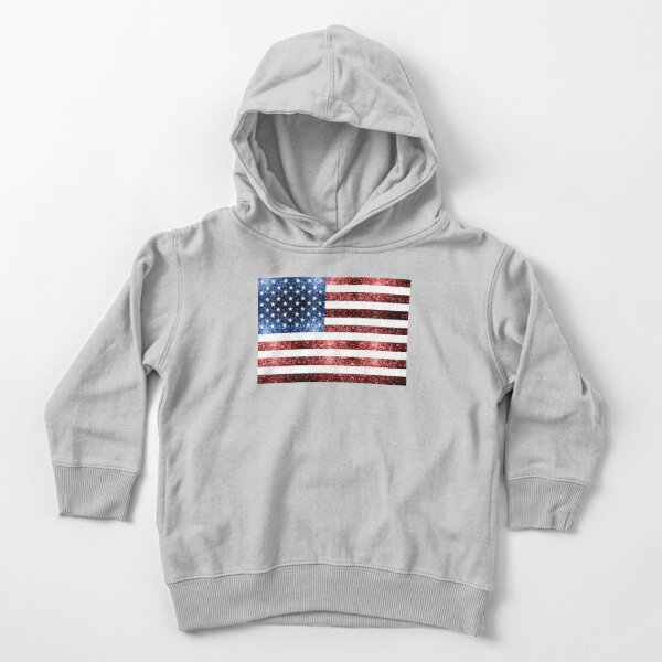 USA flag red blue sparkles glitters Toddler Pullover Hoodie