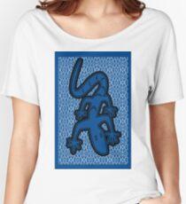LIZARD ON GLASS | MINIMALIST POP ART IN MID BLUE  Women's Relaxed Fit T-Shirt
