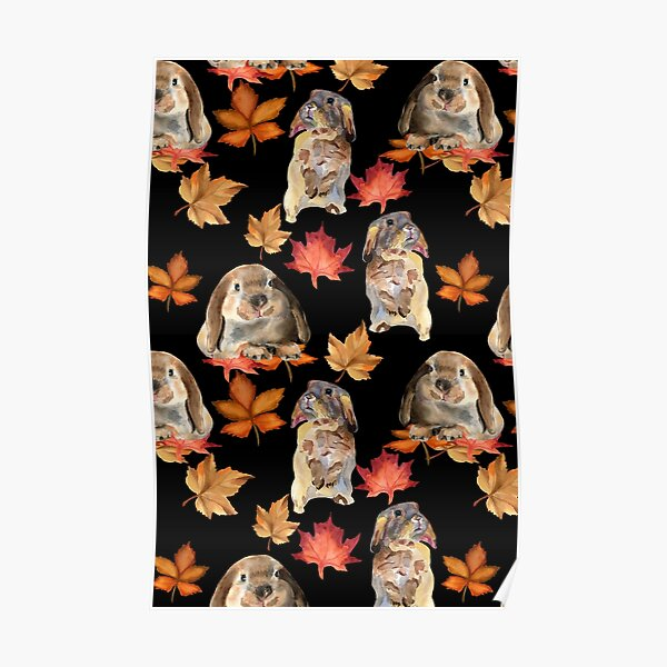 Rabbits and autumn leaves Poster