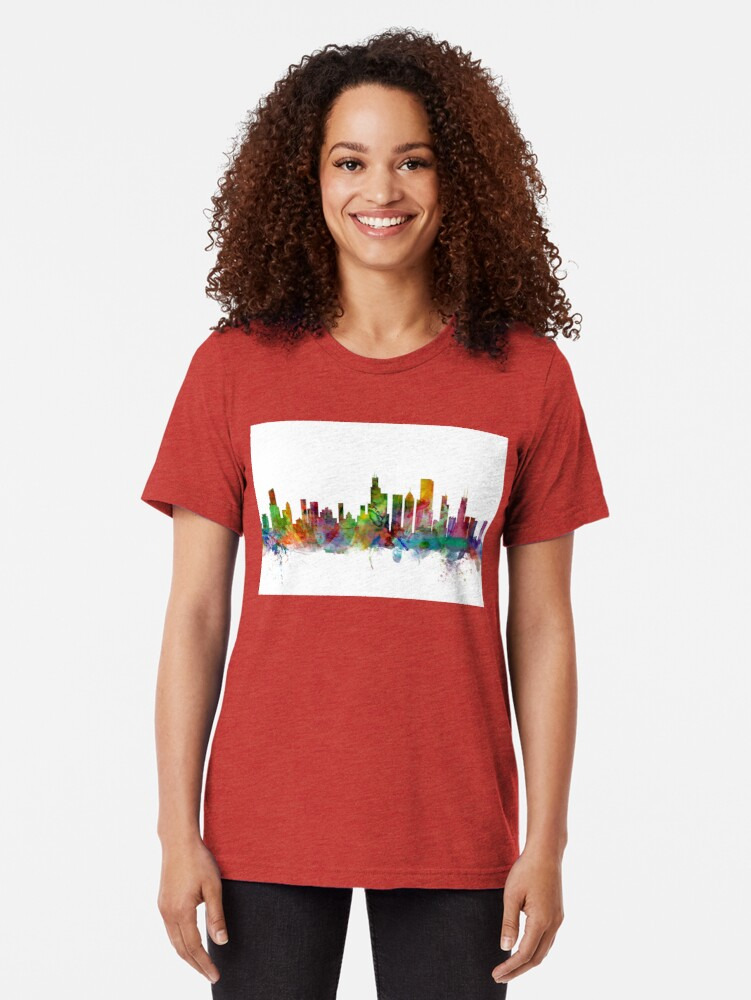 Alternative Ansicht von Chicago Illinois Skyline Vintage T-Shirt