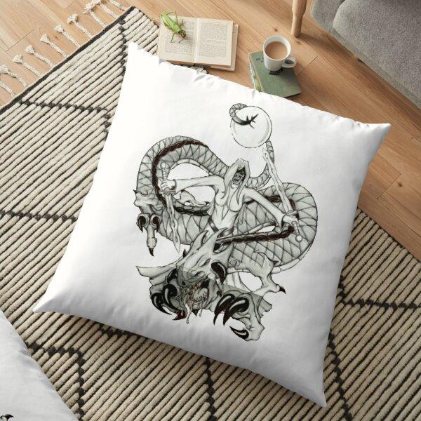 Lady Dragon Death Warrior  Floor Pillow
