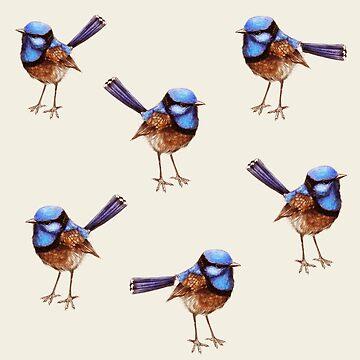 Blue Wrens on Crema by ThistleandFox