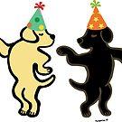 Yellow Labrador and Black Labrador Birthday Party Dancing by HappyLabradors