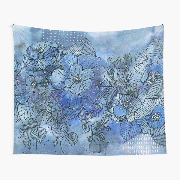 Blumen in Blau Wandbehang