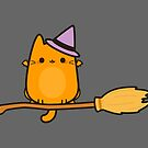 Cat bat on broomstick by peppermintpopuk