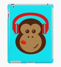 Cute Monkey DJ in Headphones with Lipstick Kiss iPad Case/Skin
