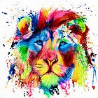 Neon Lion - colourful semi abstract - big cat - ink spatter painting by Peter Williams