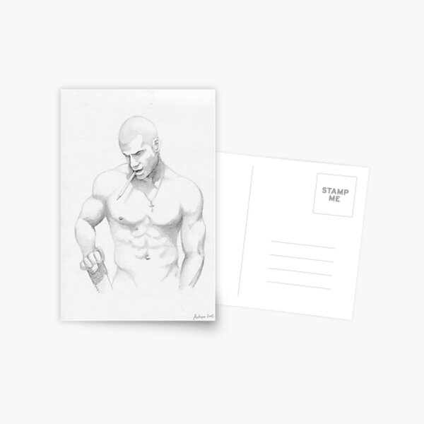 guy with saw and pencil Postcard
