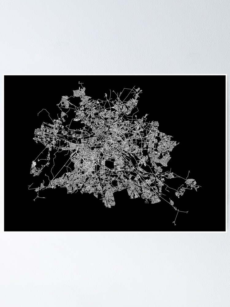 Alternate view of Berlin, Germany Street Network Map Graphic Poster