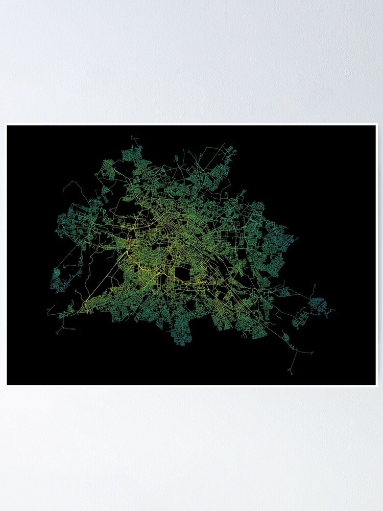Alternate view of Berlin, Germany Colored Street Network Map Graphic Poster