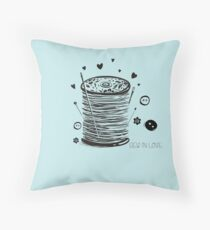 Sew in Love doodle spool of thread buttons sewing pins Throw Pillow