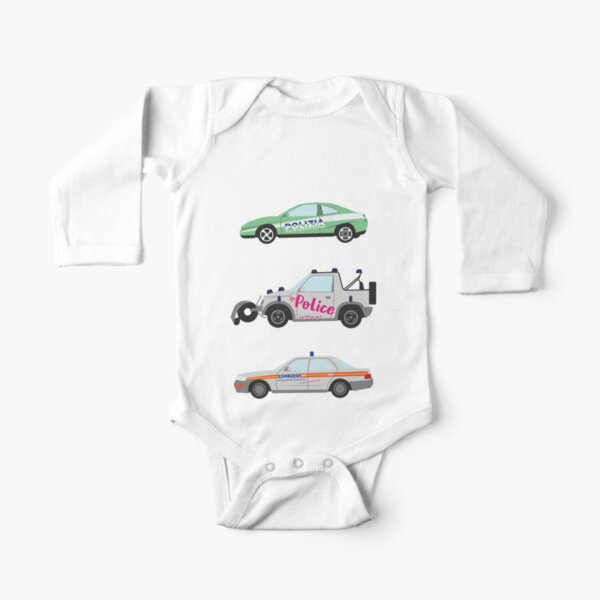 Clarkson, Hammond and May's Police challenge cars  Long Sleeve Baby One-Piece