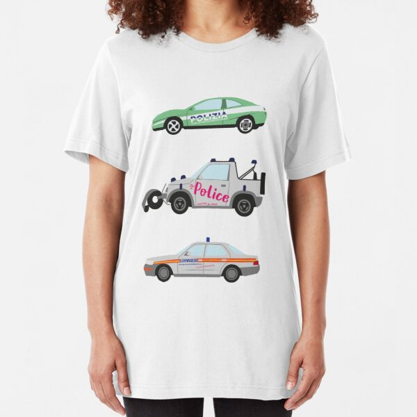 Clarkson, Hammond and May's Police challenge cars  Slim Fit T-Shirt