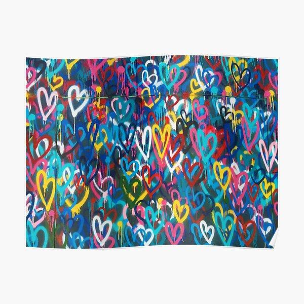 Graffiti Hearts Love Poster