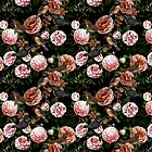 Victorian camellia flowers and kingfisher pattern by UtArt