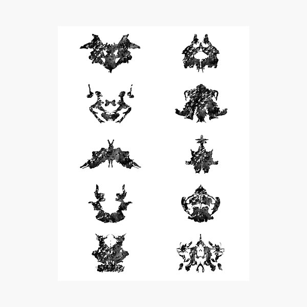Collection of Rorschach inkblot tests Photographic Print