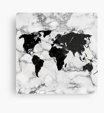 Karte Welt Marmor Weiß Schwarz Metalldruck