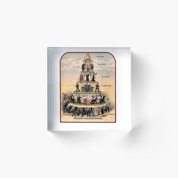 CAPITALISM. Pyramid of capitalism. Acrylic Block