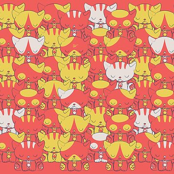 Cats and The Holograms in coral and yellow by BlueVein