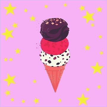 Three Scoops of Ice Cream Gelato in Waffle Cone on Pink Stars by antzyzzz