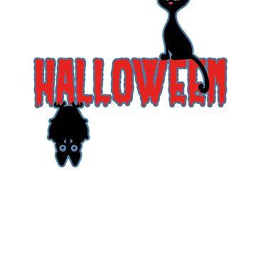 Halloween Fledärmaus Black Cat T-Shirt by Dubbra