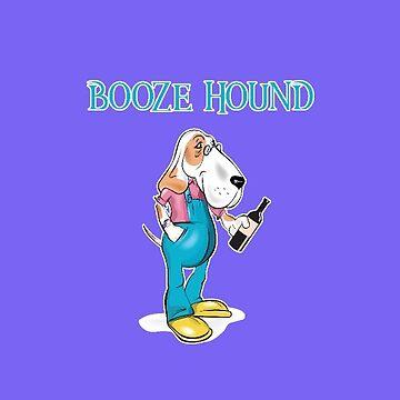 Booze Hound Wine Lover Fond of the Drink Basset Hound Bloodhound by antzyzzz