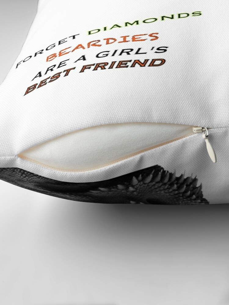 Alternate view of Forget Diamonds - Beardies Are A Girls Best Friend Throw Pillow