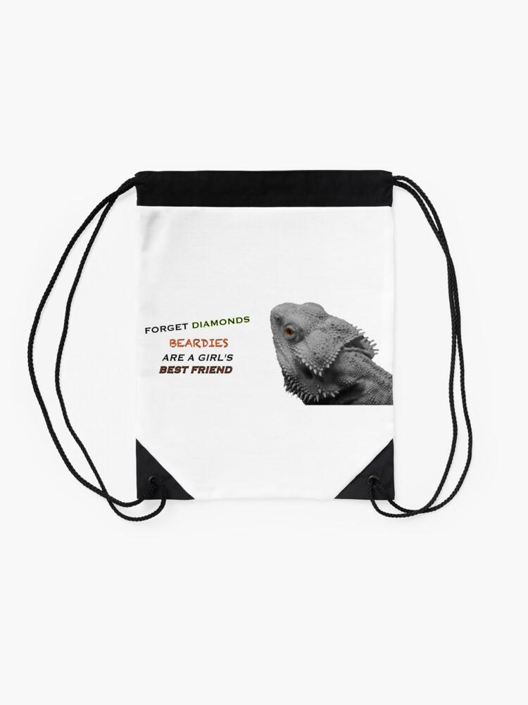 Alternate view of Forget Diamonds - Beardies Are A Girls Best Friend Drawstring Bag