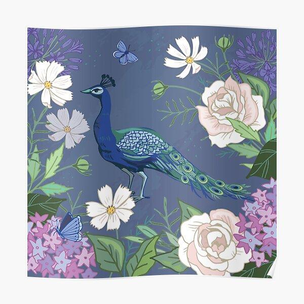 Peacock in a botanical garden Poster
