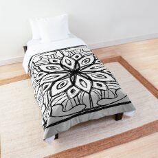 Black and White Mandala Ink Blot Comforter