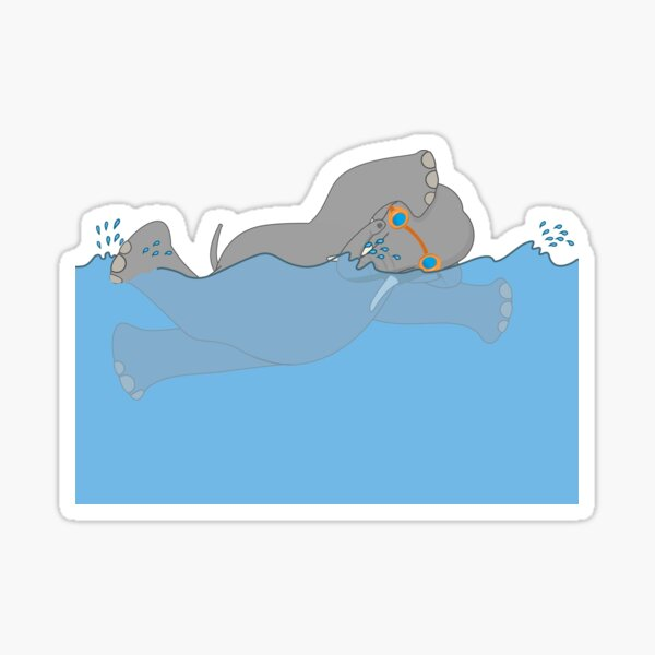 Elephant Swimming Sticker